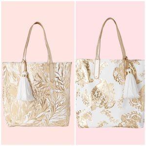Gold Metallic Turtle Reversible Shopper Tote Bag
